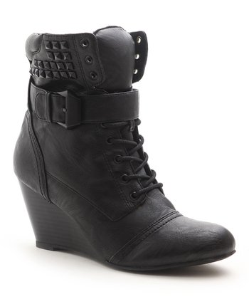 Black Flash Wedge Bootie