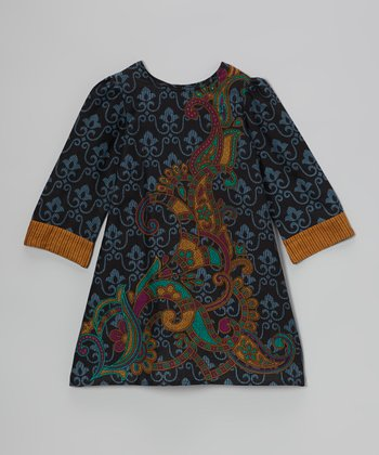 Blue & Gold Paisley Swing Dress - Toddler & Girls