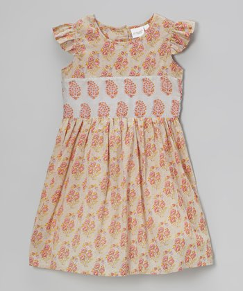 Cream & Coral Paisley Angel-Sleeve Dress - Toddler & Girls