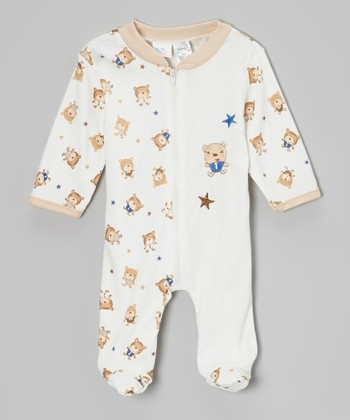 White & Brown Bear Footie