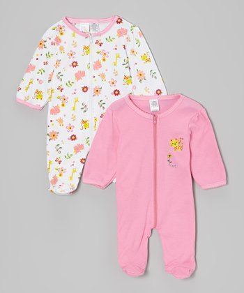 White Zoo Animal & Pink Cheetah Footie Set
