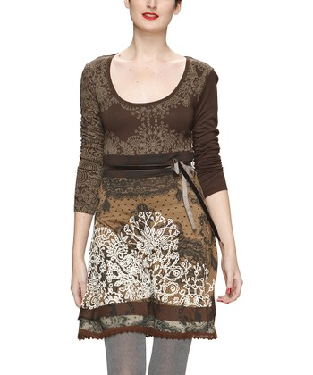 Brown Embroidered Lace-Trim Dress