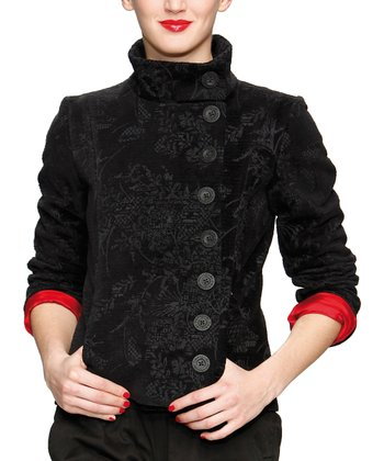 Black Ramone Asymmetrical Button Jacket