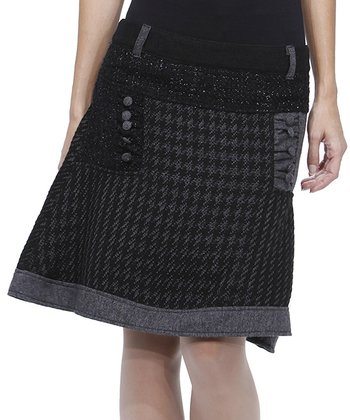 Black & Gray Houndstooth Wool-Blend Skirt