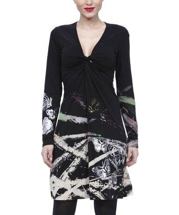 Black Knotted-Front Abstract Dress