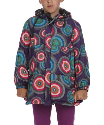 Purple Circle Tiered Jacket - Toddler & Girls