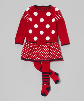 Red & White Polka Dot Dress & Tights - Infant & Toddler