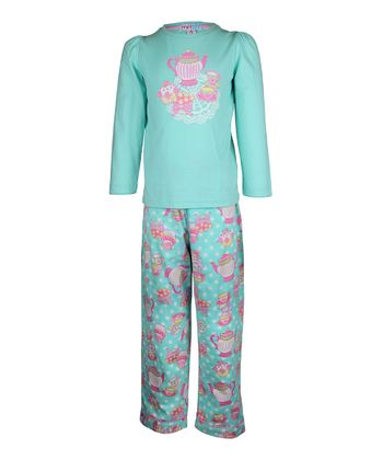 Aqua Tea Party Pajama Set - Toddler & Girls
