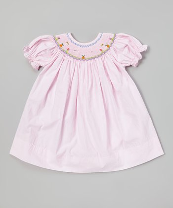 Pink Bunny Smocked Bishop Dress - Infant & Toddler