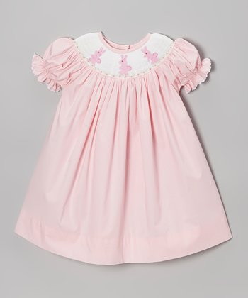 Pink & White Bunny Smocked Bishop Dress - Infant, Toddler & Girls