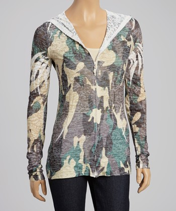 Teal & Taupe Camo Burnout Zip-Up Hoodie