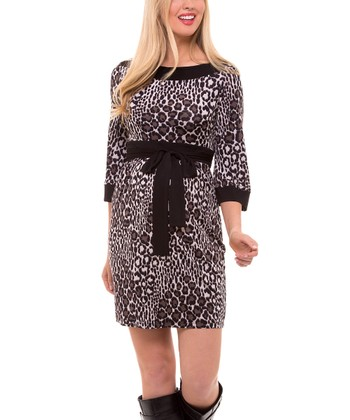 Brown Leopard Tie-Waist Maternity Dress