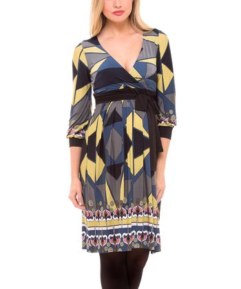 Yellow & Navy Abstract Geo Tie-Waist Maternity Surplice Dress