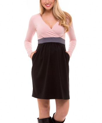 Light Pink & Gray Maternity Empire-Waist Surplice Dress