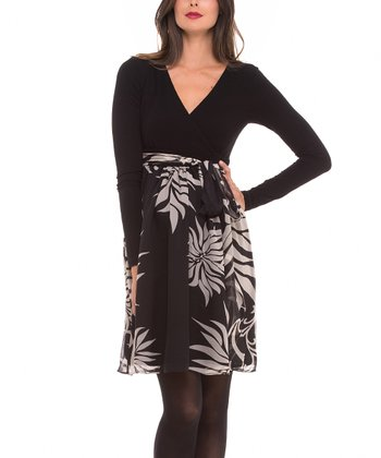 Black & Crème Floral Tie-Waist Maternity Surplice Dress