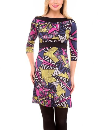 Yellow & Purple Abstract Maternity A-Line Dress