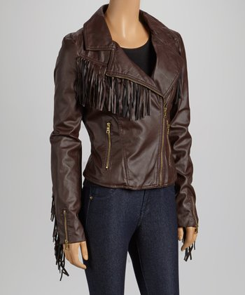 Chocolate Fringe Faux Leather Moto Jacket