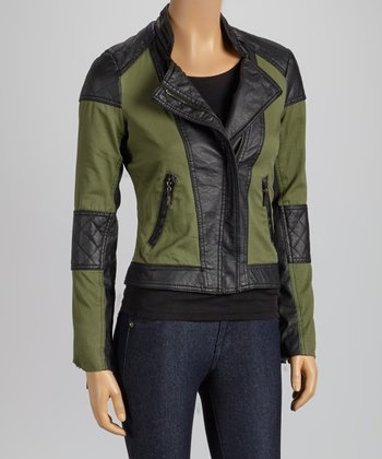 Olive Faux Leather Quilted Twill Jacket