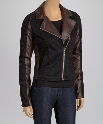 Black & Brown Faux Leather Panel Jacket