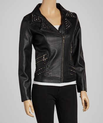 Black Studded Faux Leather Moto Jacket