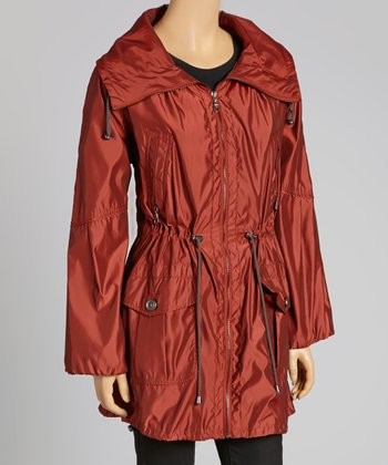 Rust Anorak Funnel Collar Coat