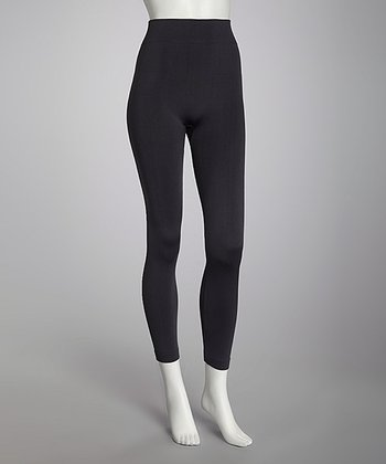 Charcoal Seamless Fleece-Lined Leggings Set - Women