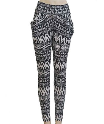 Black Tribal Harem Pants - Women