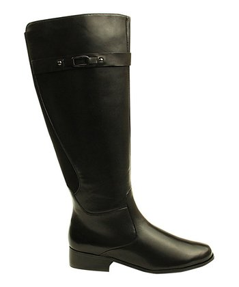 Black Leather Wide-Calf Ramex Boot
