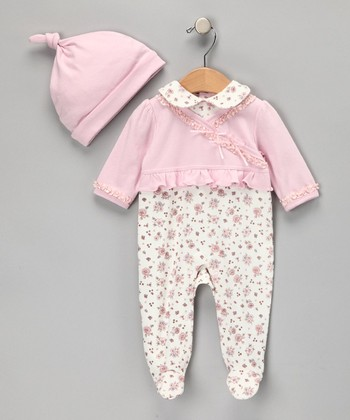 Pink Floral Layered Footie & Beanie