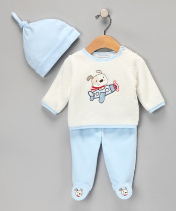 Blue Airplane Footie Pants Set