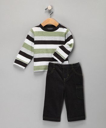 Green Stripe Tee & Jeans