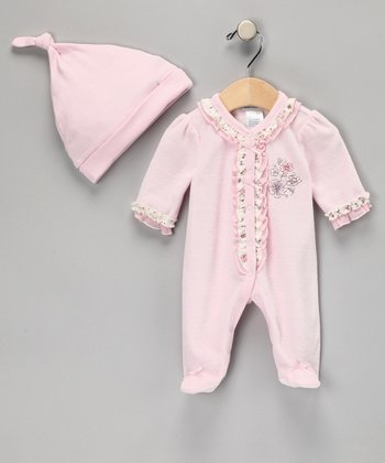 Pink Velour Footie & Beanie - Infant