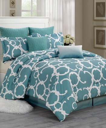 Dusty Blue Rhys Quilted Overfilled Comforter Set
