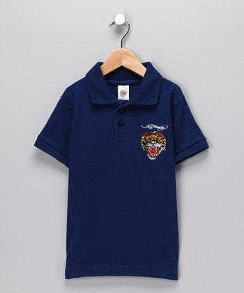 Navy Tiger Polo - Toddler & Boys