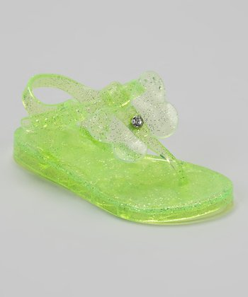 Lime Green Butterfly Jelly Sandal
