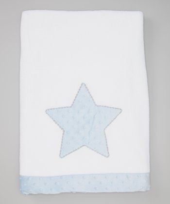 White & Blue Star Plush Stroller Blanket