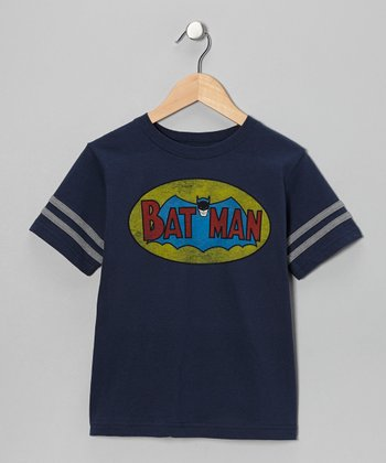 Navy Vintage Batman Logo Tee - Kids
