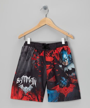 Black & Red Batman Boardshorts - Boys