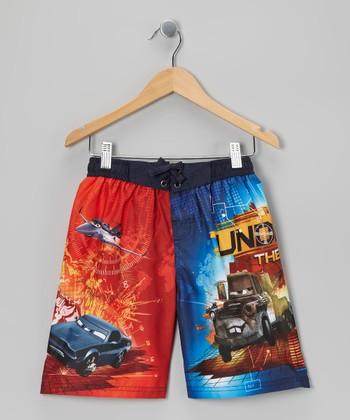 Navy Cars Boardshorts - Boys