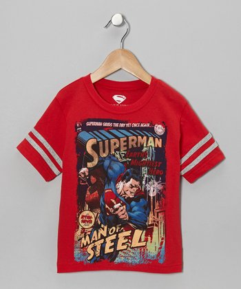 Red Vintage Superman Comic Tee - Kids