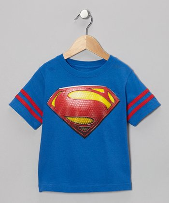 Blue & Red Superman Man of Steel Logo Tee - Kids