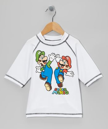 White Super Mario Rashguard - Boys