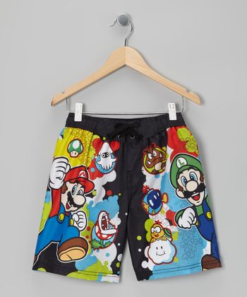Black Super Mario Boardshorts - Boys