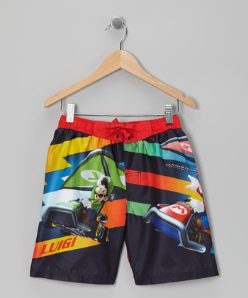 Red Mario Kart Boardshorts - Boys