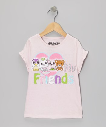 Pink 'Love My Friends' Squinkies Tee - Girls