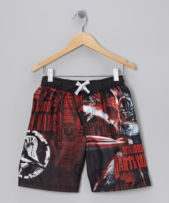 Black & Red Darth Vader Boardshorts - Boys