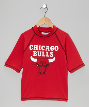 Red & Black 'Chicago Bulls' Rashguard - Toddler & Kids