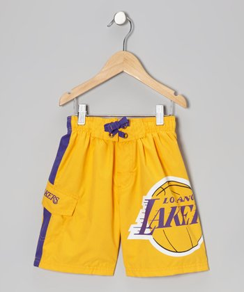 Gold Los Angeles Lakers Cargo Boardshorts - Boys