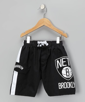 Black Brooklyn Nets Cargo Boardshorts - Boys