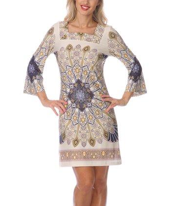 Beige & Navy Embellished Square Neck Dress